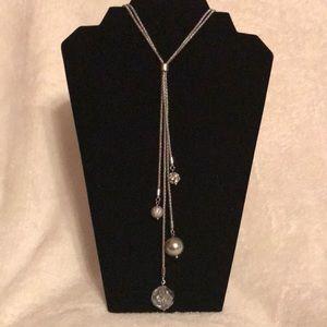 "Lia Sophia Silver ""Y"" Necklace with charms"